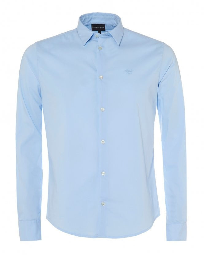 Emporio Armani Mens Canvas Cotton Sky Blue Stretch Shirt