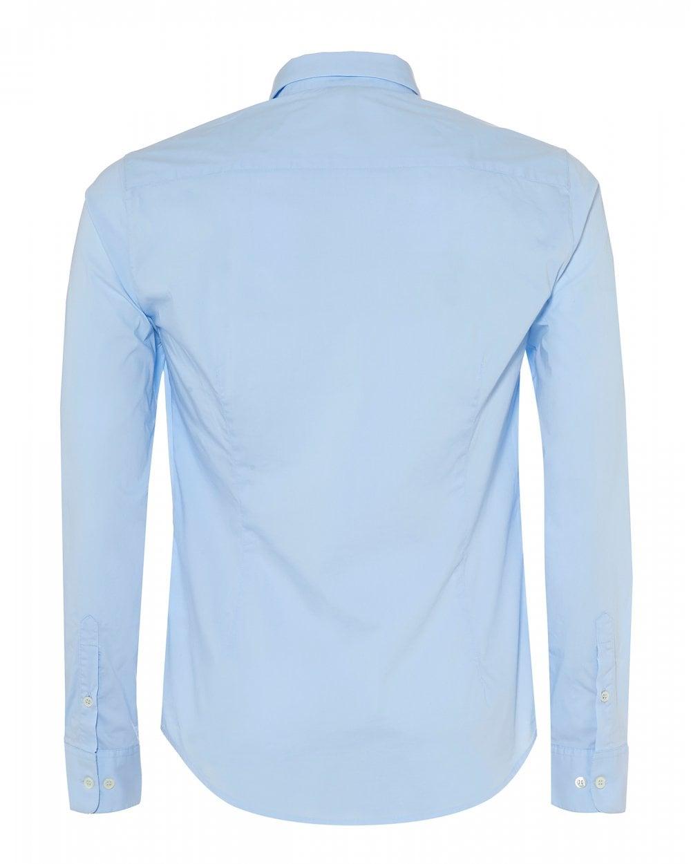99138eda Emporio Armani Mens Canvas Cotton Sky Blue Stretch Shirt