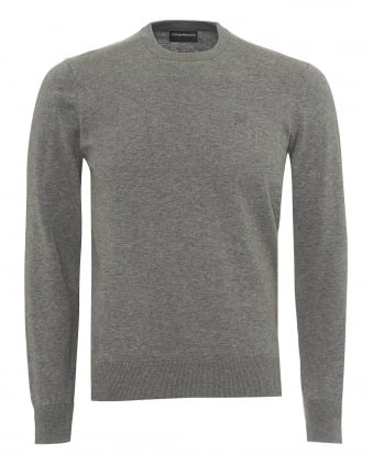 Mens Contrast Subtle Piping Knit, Regular Fit Grey Jumper