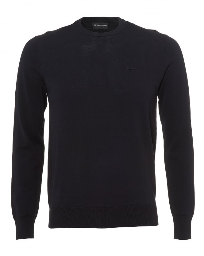 Emporio Armani Mens Contrast Subtle Piping Knit, Regular Fit Navy Blue Jumper