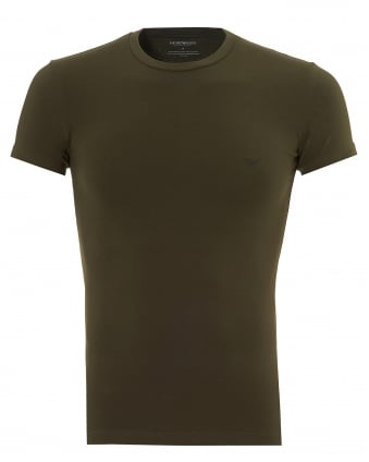 Mens Double Eagle T-Shirt, Regular Fit Military Green Tee