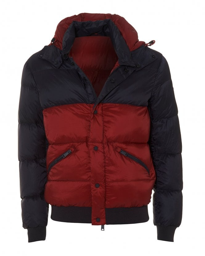 Emporio Armani Mens Down Filled Navy Red Hooded Puffa Jacket