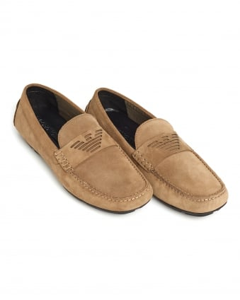 Mens Driving Shoe, Suede Logo Beige Loafer