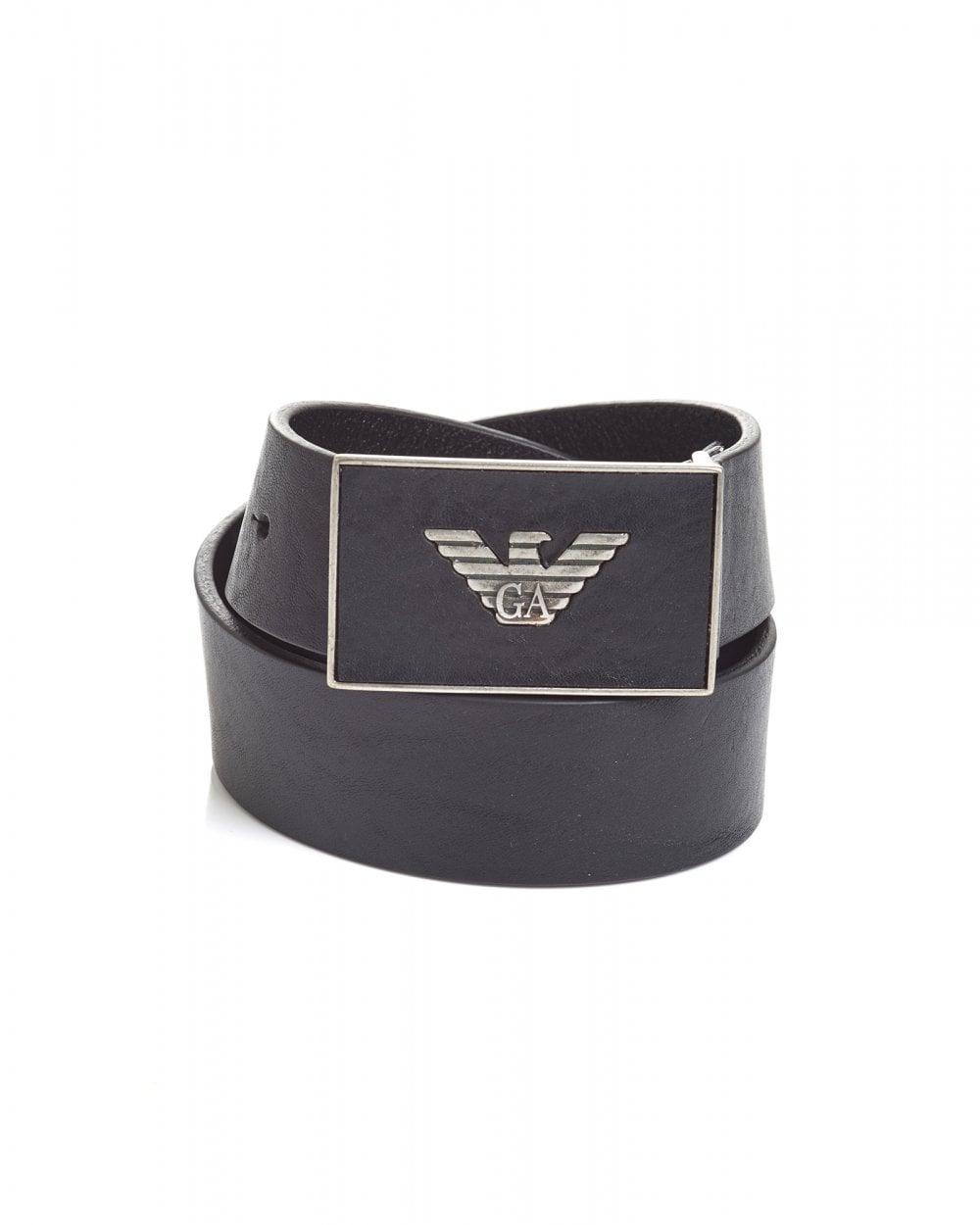64b9842881 Mens Eagle Embossed Metal Logo Leather Black Belt