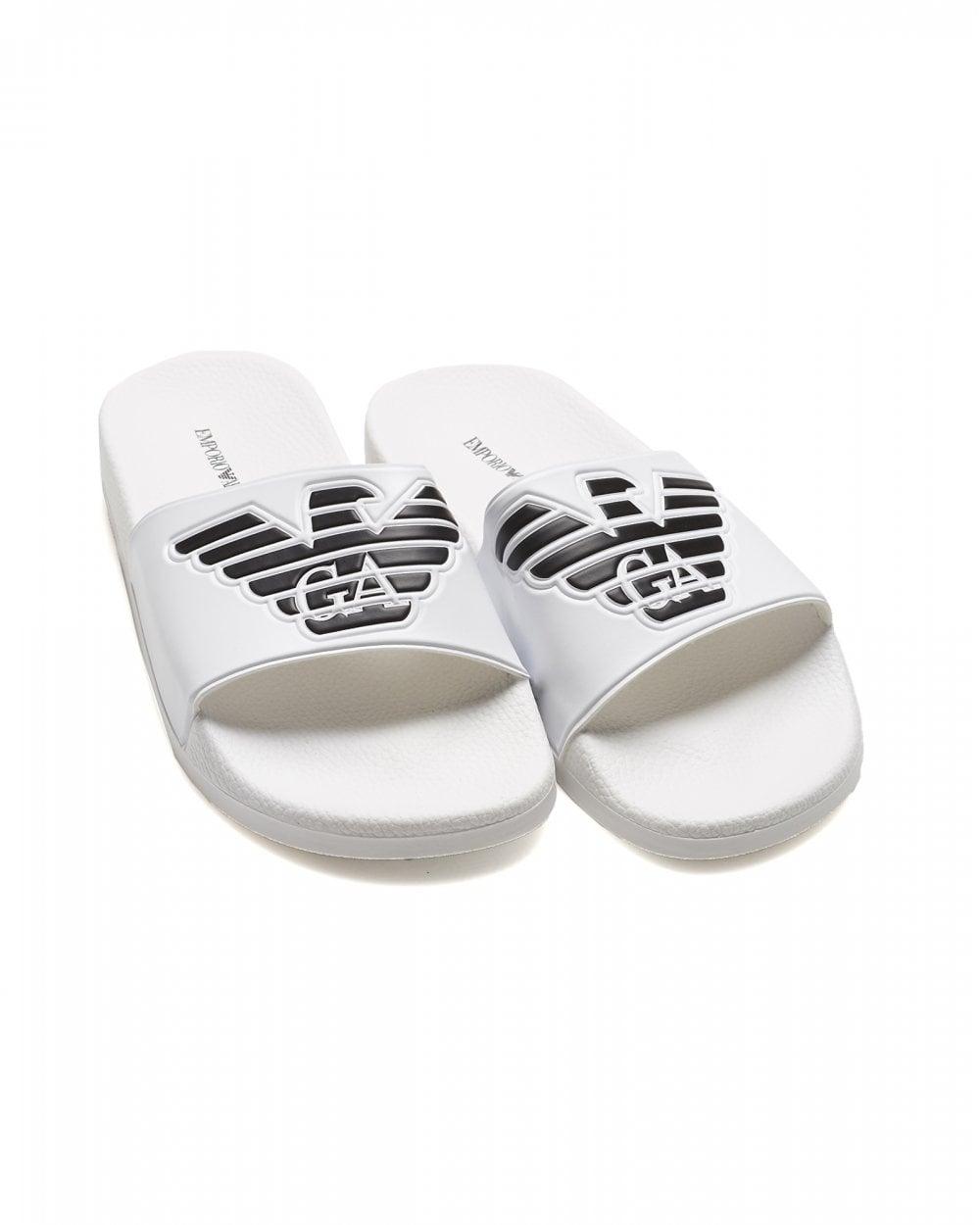 6eb83460a Emporio Armani Mens Eagle Logo Sliders, White Flip Flops