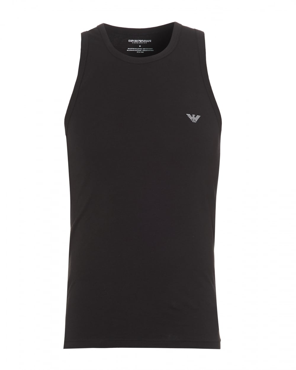 Armani Emporio Eagle Black Sleeveless Logo Vest Mens Top fqUqwB