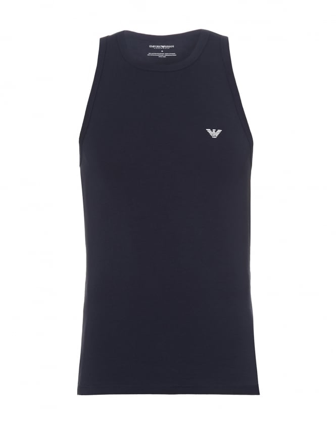 Emporio Armani Mens Eagle Logo Vest Top, Sleeveless Navy Blue Vest