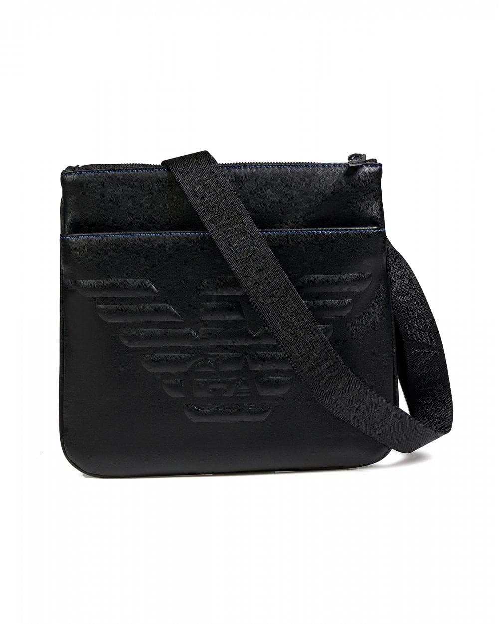 97252f40df Mens Embossed Eagle Logo Flat Crossbody Bag