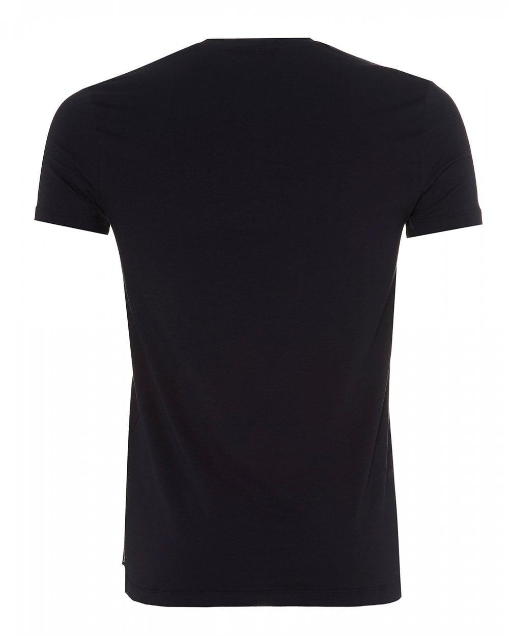 5a6c994c1c Mens Foiled Eagle Logo T-Shirt, Navy Blue Slim Fit Tee