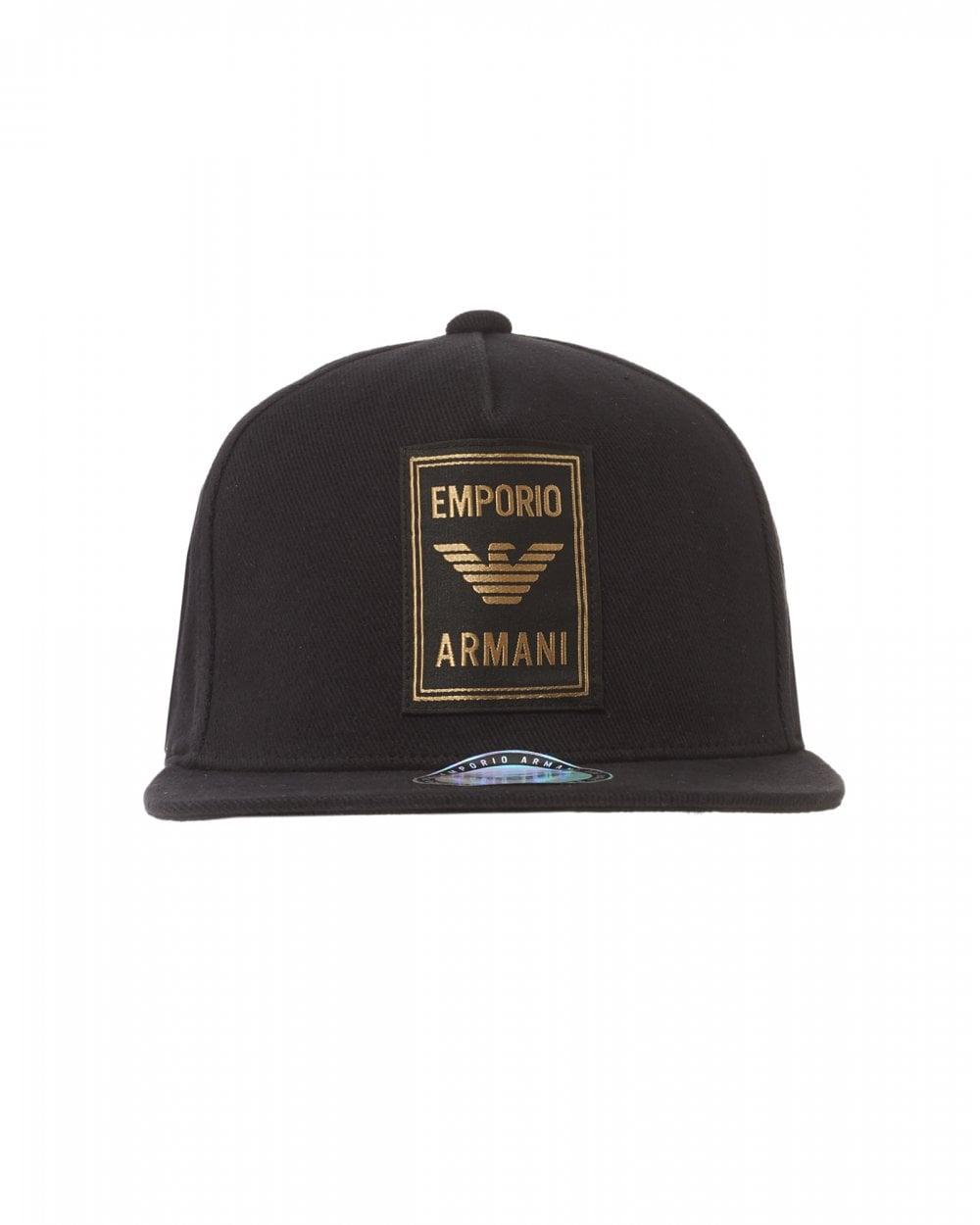 18192463a Mens Gold Eagle Logo Trucker Cap, Black Hat