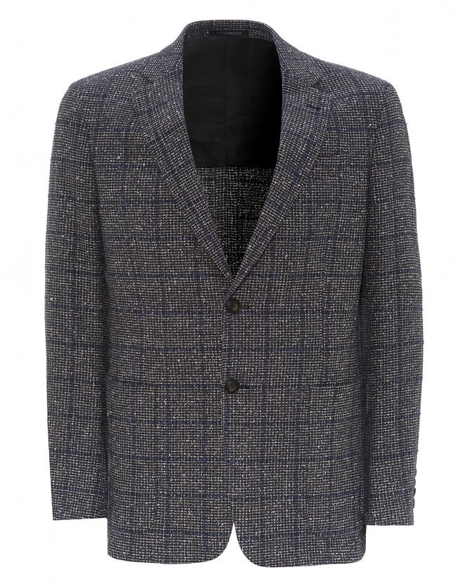 Emporio Armani Mens Grey Wool Blazer, Overcheck Jacket