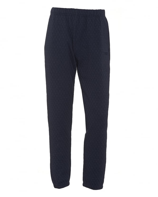 Emporio Armani Mens Honeycomb Jersey Navy Blue Trackpants