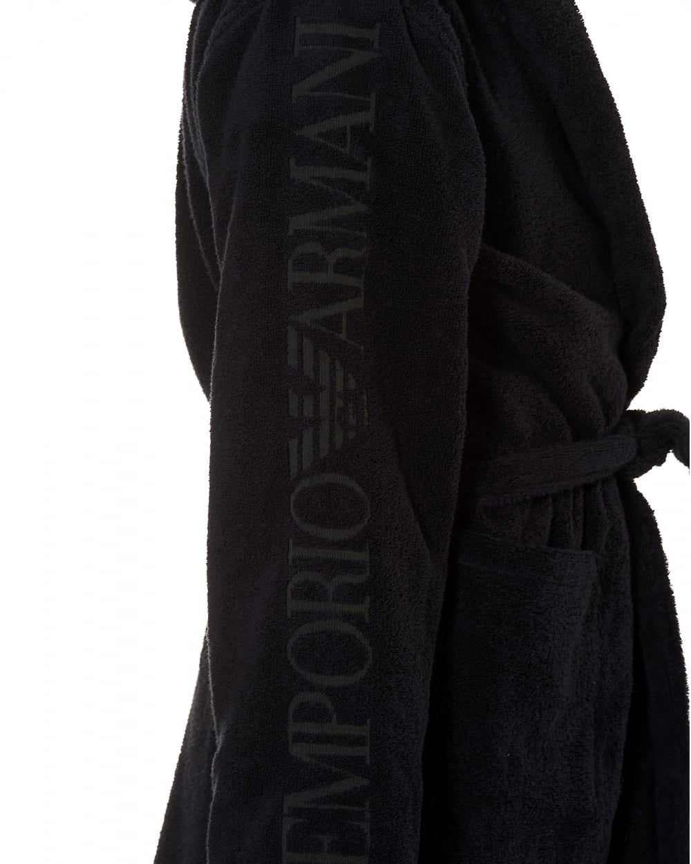 Emporio Armani Mens Hooded Robe, Branding Navy Blue Dressing Gown