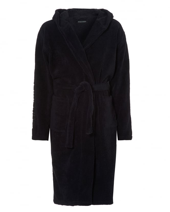 Emporio Armani Mens Hooded Robe, Branding Navy Dressing Gown