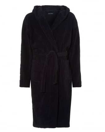 Mens Hooded Robe, Branding Navy Dressing Gown