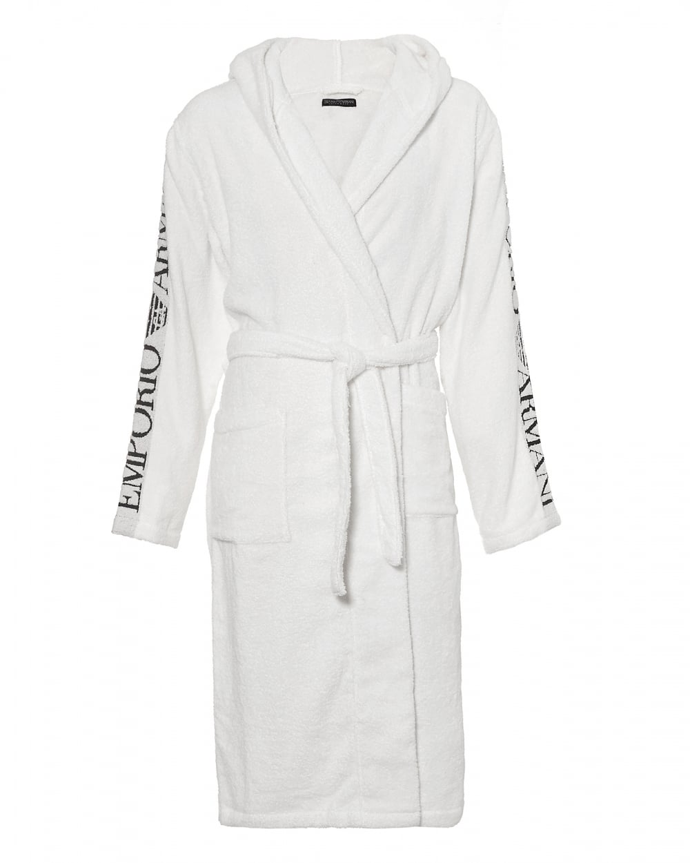 Emporio Armani Mens Hooded Robe, Logo Sleeve White Dressing Gown