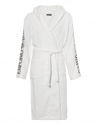 Mens Hooded Robe, Logo Sleeve White Dressing Gown