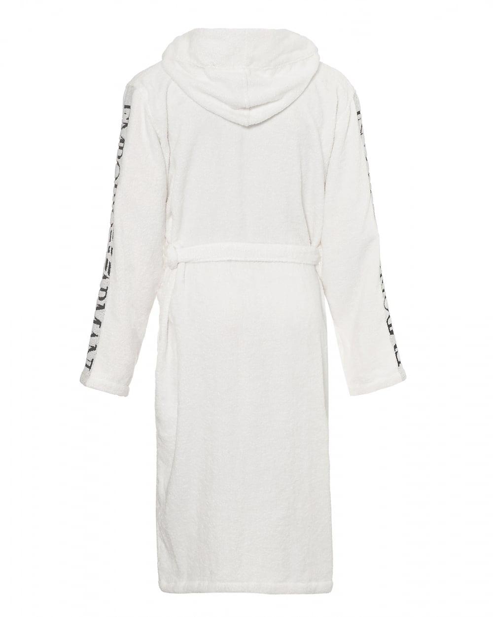Emporio Armani Mens Hooded Robe, Logo Sleeve White Dressing Gown