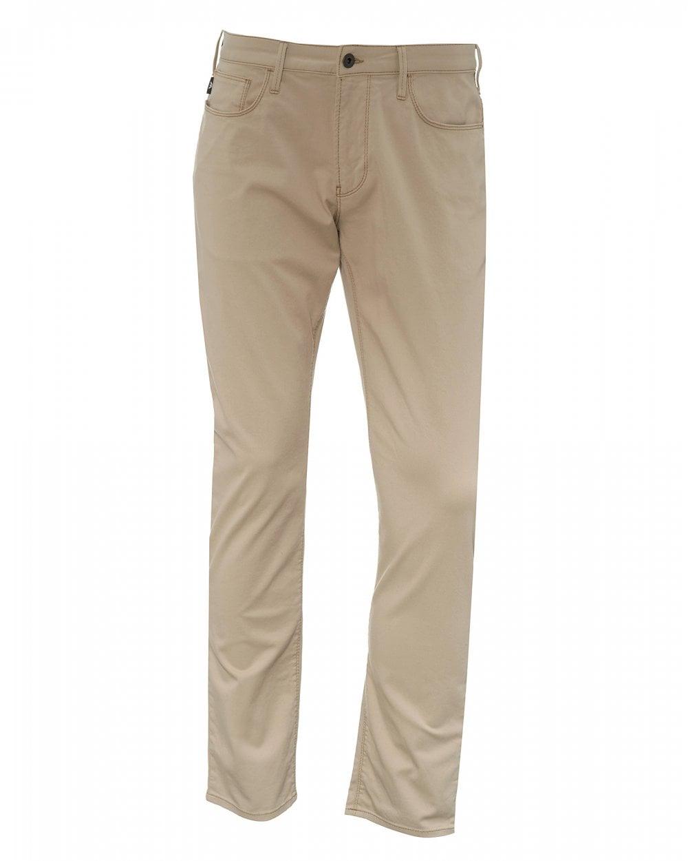 3376a2f86f6 Emporio Armani Mens J06 Beige Slim Fit Jeans, Tapered Denim
