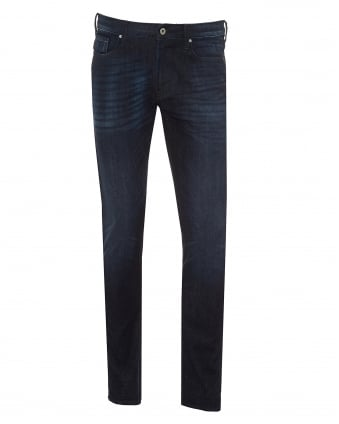 Mens J06 Jeans, Dark Whiskered Thighs Navy Slim Fit Denim