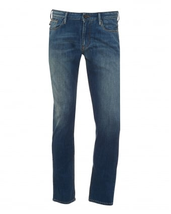 Mens J06 Jeans, Slim Fit Cross Hatch Blue Denim