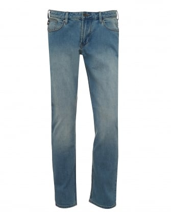 Mens J06 Jeans, Slim Fit Stretch Cotton Light Whisker Blue Denim