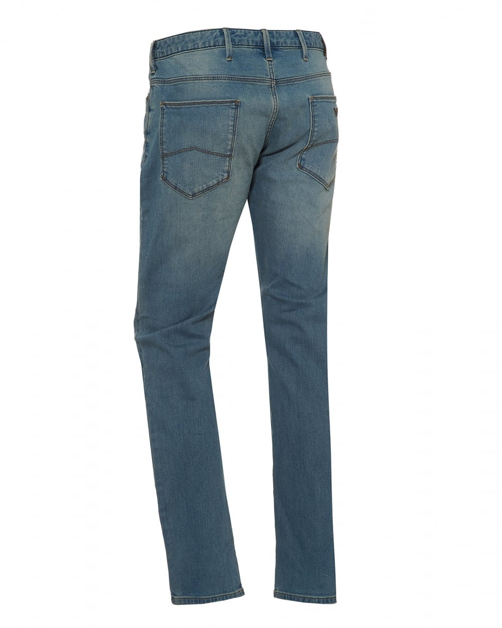 47c425ef504a Emporio Armani Mens J06 Slim Fit Stretch Cotton Light Whisker Blue Jeans