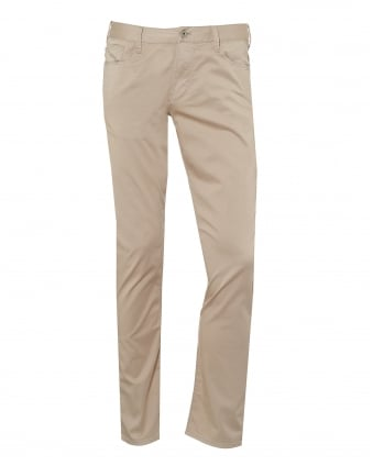 Mens J06 Jeans, Stretch Cotton Gabardine Slim Beige Denim