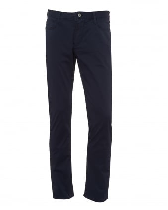Mens J06 Jeans, Stretch Cotton Gabardine Slim Navy Denim