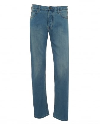 Mens J21 Jeans, Faded Light Whisker Blue Regular Fit Denim