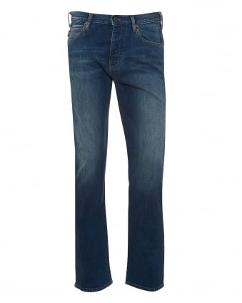 Mens J21 Jeans, Regular Fit Cross Hatch Blue Denim