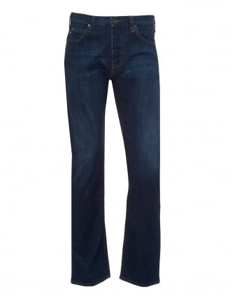 Mens J21 Jeans, Regular Fit Stretch Cotton Mid Whisker Navy Denim