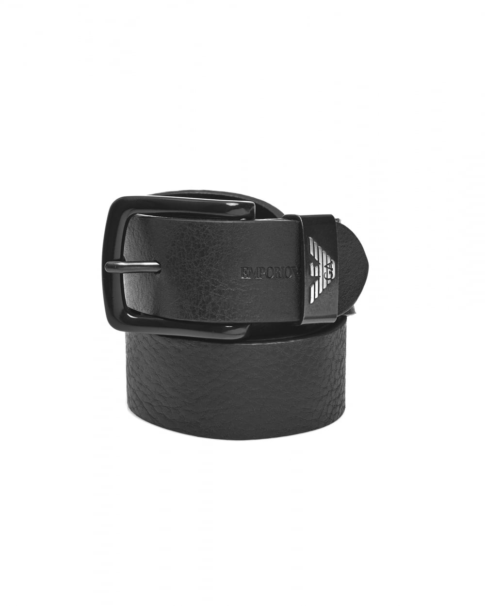 Emporio Armani Mens Keeper Large Eagle Logo Black Leather Belt