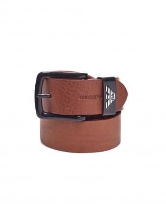 Mens Keeper Large Eagle Logo Cognac Brown Leather Belt