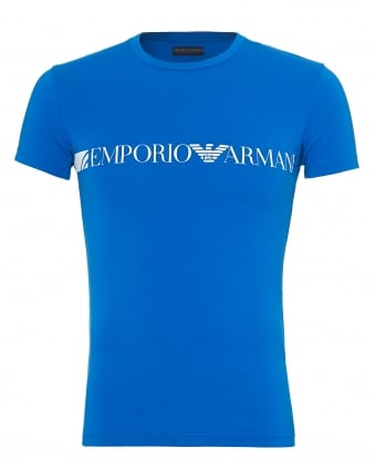 Mens Large Chest Branding T-Shirt, Slim Fit Blue Tee