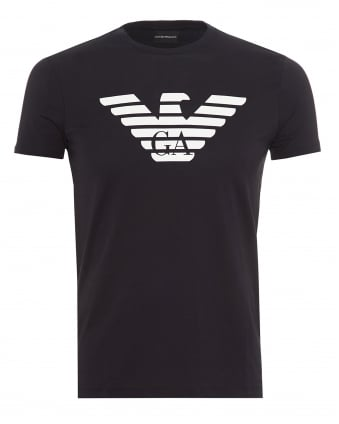 Mens Large EA Eagle Branding T-Shirt, Slim Fit Navy Blue Tee