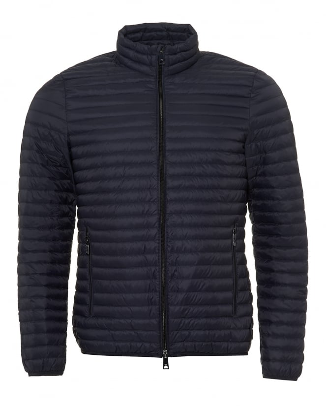 Emporio Armani Mens Lightweight Quilted Jacket, Techno Fabric Navy Blue Coat