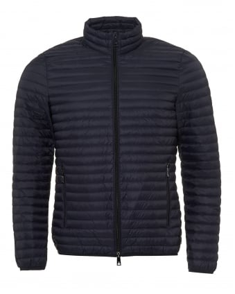 Mens Lightweight Quilted Jacket, Techno Fabric Navy Blue Coat