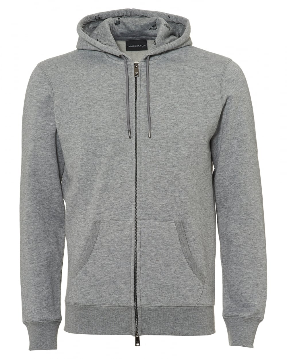 ba7c13239 Emporio Armani Mens Logo Hoodie, Regular Fit Grey Hooded ...