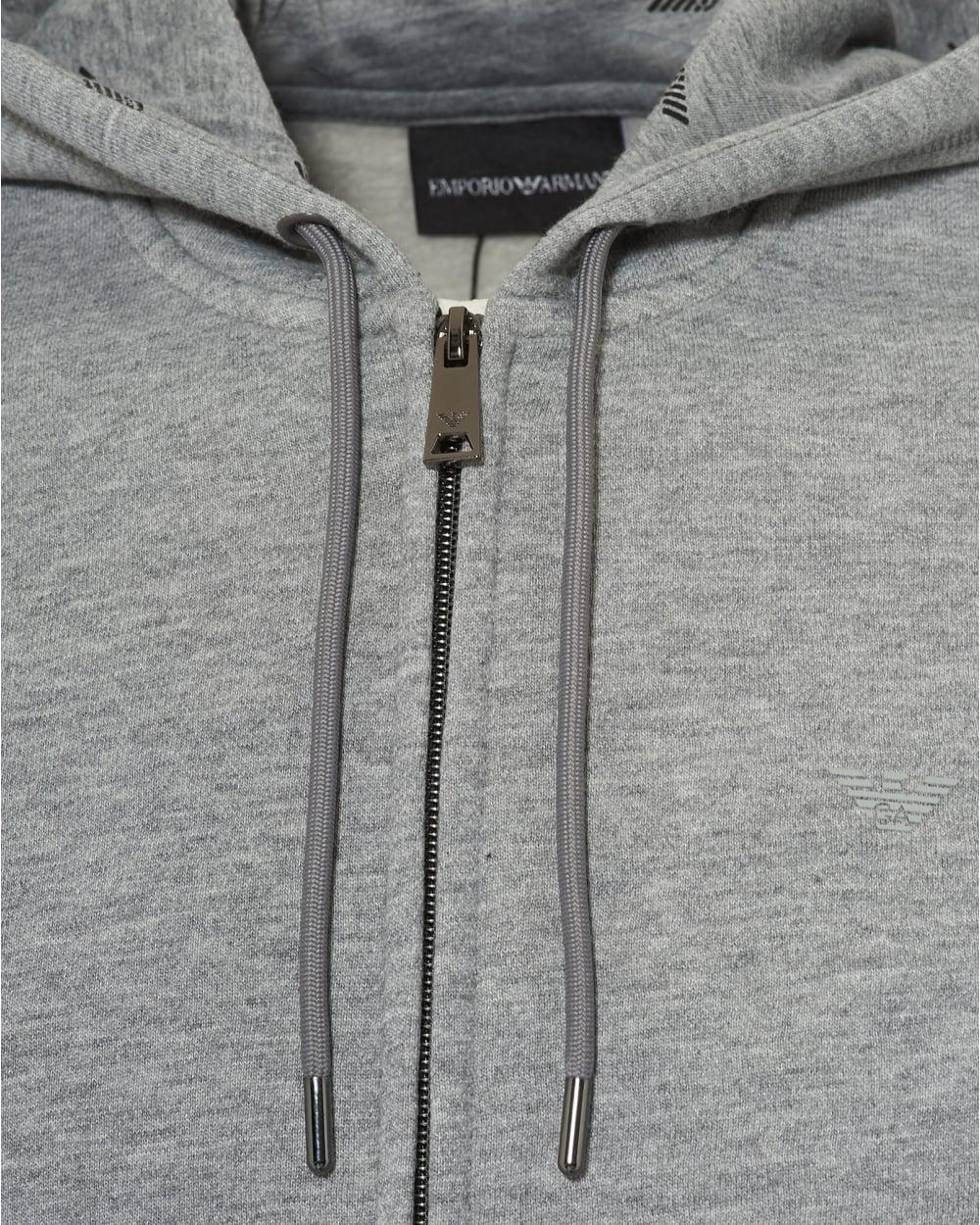 0b7fb2b3 Emporio Armani Mens Logo Hoodie, Regular Fit Grey Hooded Sweatshirt