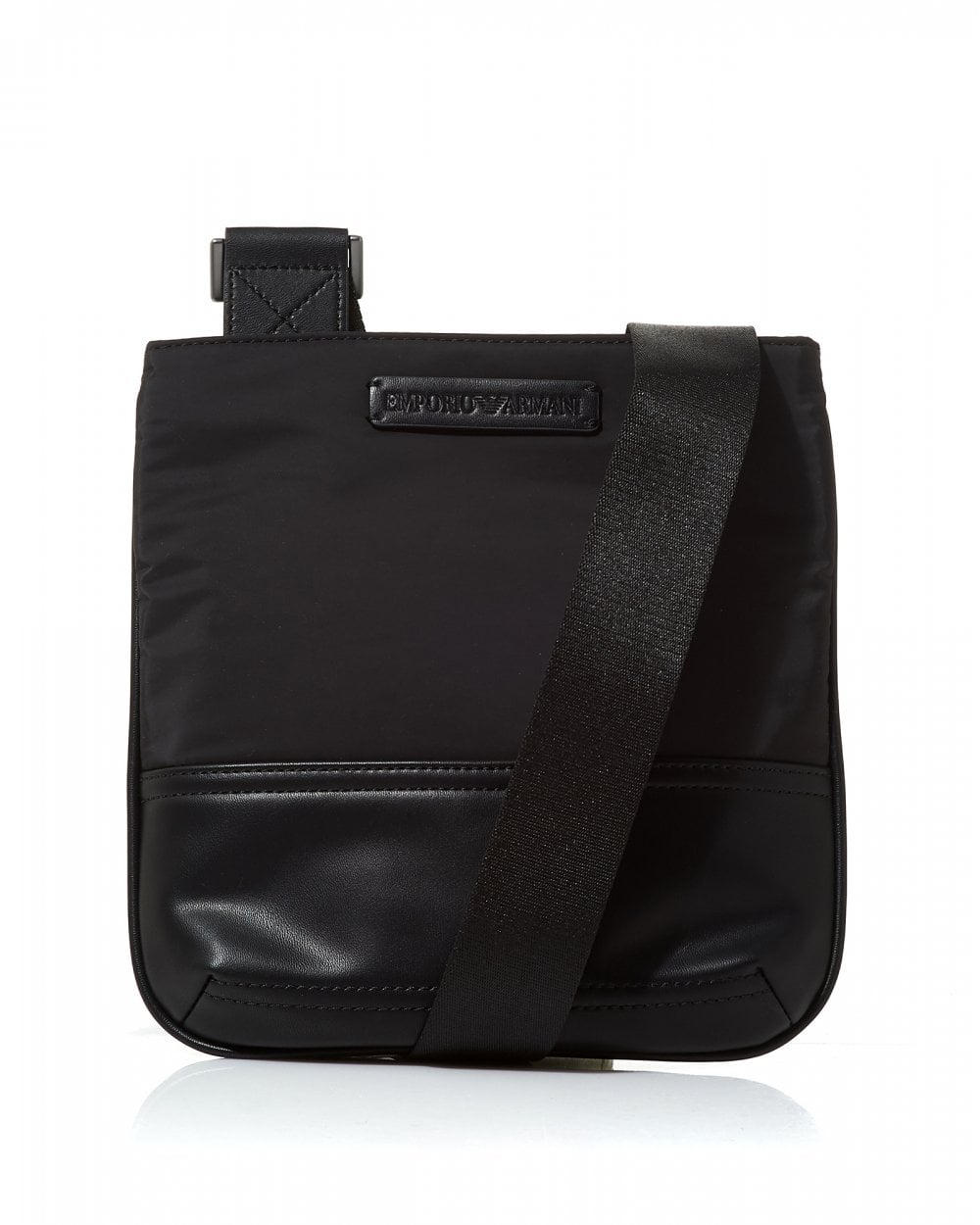 50b9b3b05 Emporio Armani Mens Logo Tab Black Leather Cross Body Stash Bag