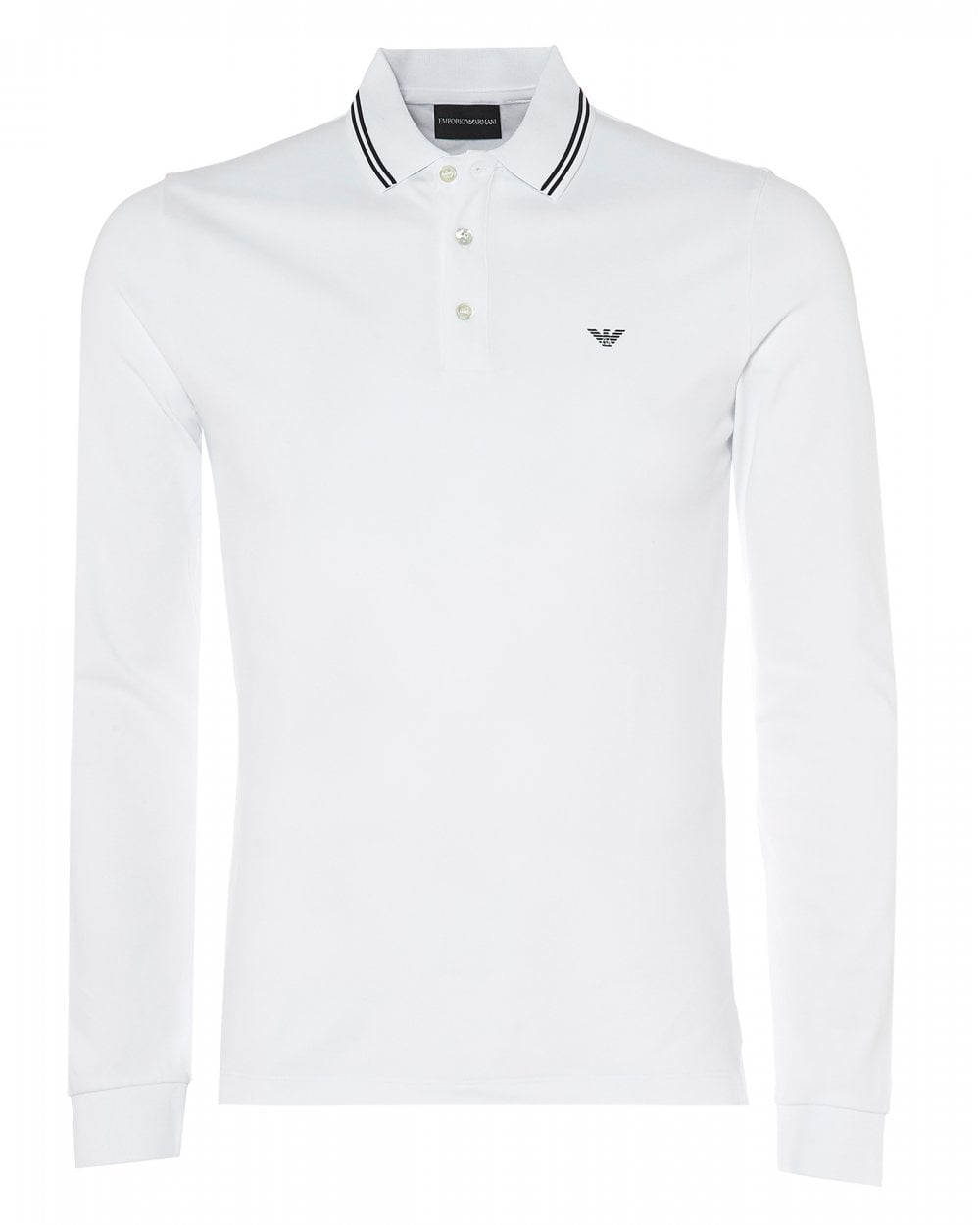 2d1c24fa Emporio Armani Mens Long Sleeve Polo Shirt, White Slim Fit Polo Shirt
