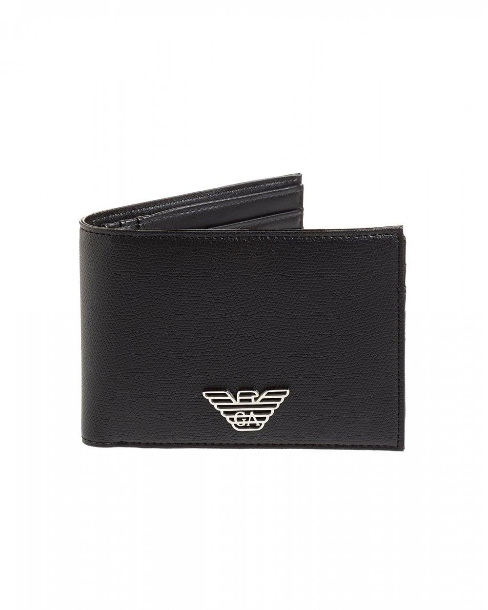 1da88e2b578c Emporio Armani Mens Metal Eagle Black Leather Billfold Wallet
