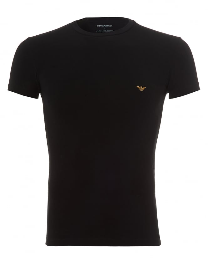 Emporio Armani Mens Metal Eagle T-Shirt, Large Back Logo Black Tee