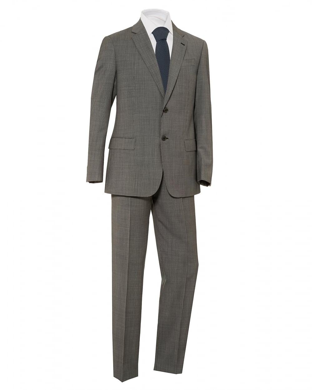 ff1a9a202d9 Emporio Armani Mens Micro Check 2 Button Wool Grey Suit