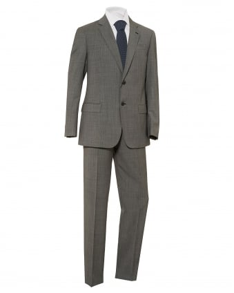 Mens Micro Check 2 Button Wool Grey Suit
