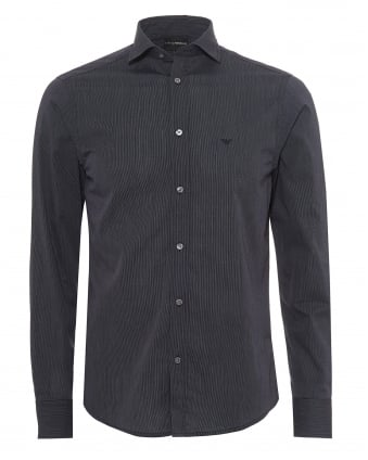 Mens Micro Fine Stripe Pattern Shirt, Regular Fit Navy Blue Shirt