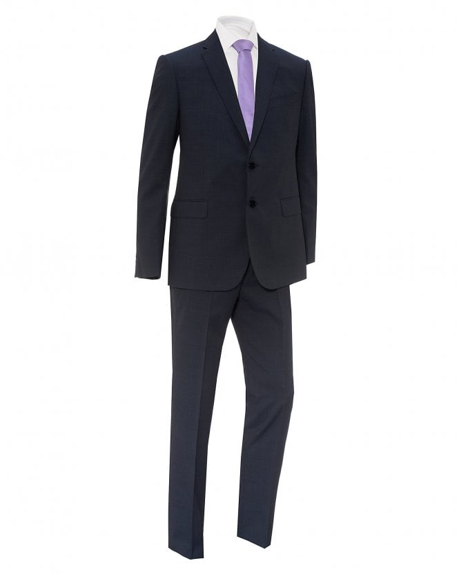 Emporio Armani Mens Mid-Blue Two Button Textured Pin Dot Suit