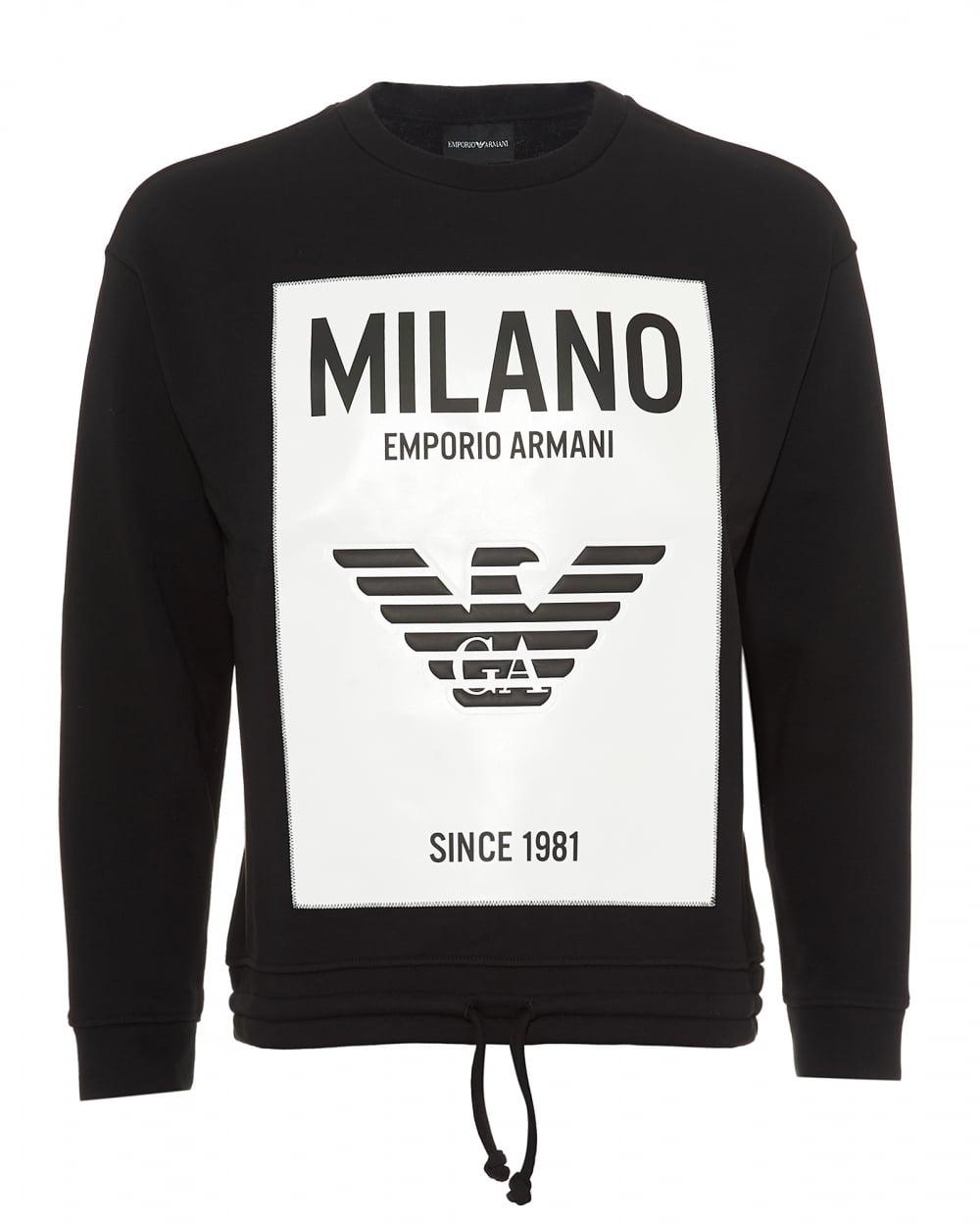 d04efa16 Mens Milano City Rubberised Panel Sweatshirt, Black Sweat