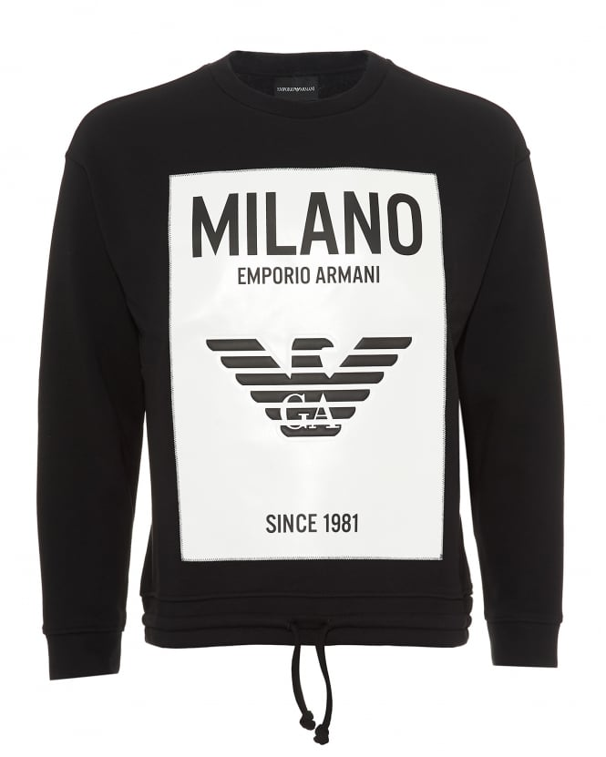 Emporio Armani Mens Milano City Rubberised Panel Sweatshirt, Black Sweat